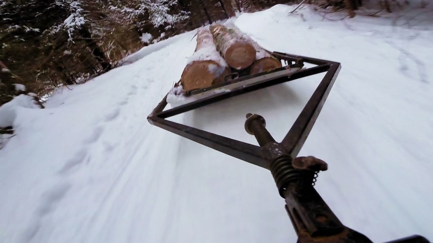 Snowmobile Dragging trunk of Timber in Forest on a Sled Stock Footage