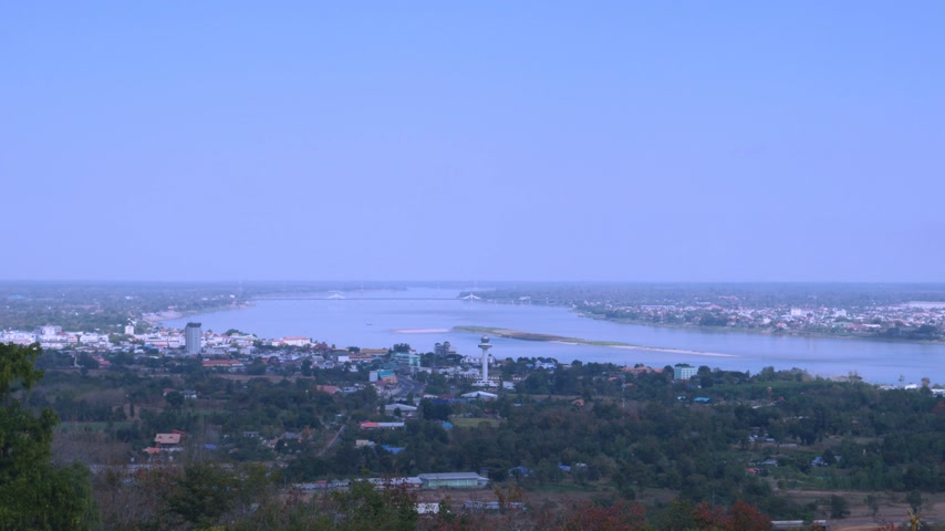 khong : Panning shot of Aerial view of Mekong river Stock Footage