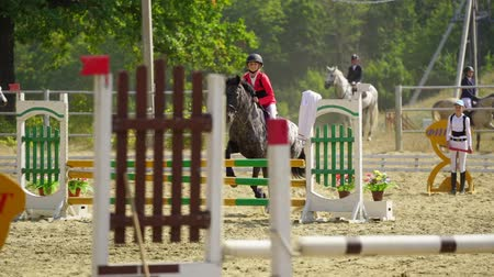 pulando : Undory, Ulyanovsk Region, Russia - September 2, 2018: A jockey girl riding a horse at equestrian competitions. Slow motion. Vídeos