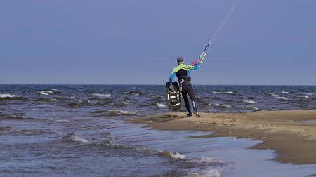 kitesurfer : SLOW MOTION: kite surfer kite surfing. Stock Footage