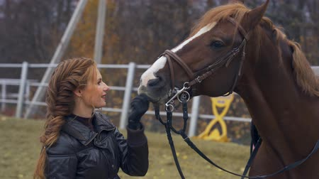 kaštanová : A young woman with brown hair. Woman on a walk with a horse. A cloudy autumn day. Dostupné videozáznamy