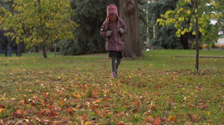 after school : Girl baby walks on the lawn in the park. A girl walks in the park after school. Autumn day. Stock Footage