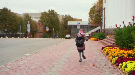 stoeptegels : Back girl with backpack Cloudy autumn morning. Stockvideo