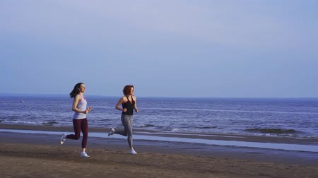 eggplant : SLOW MOTION: Two women are jogging along a large river. Women do gymnastics in the summer morning.