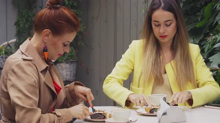 средний возраст : A middle-aged red-haired woman in a brown coat and a brown-haired young woman in a yellow coat are sitting in a summer street cafe and eating dessert. Close-up.