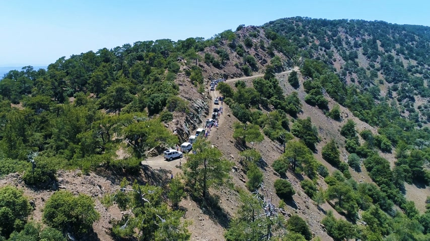 Flying Through a Green Canyon in Cyprus Above a Group of Jeeps in European Mountains. Beautiful Landscape of Hills and Valleys in Forest Area in a Summer Day