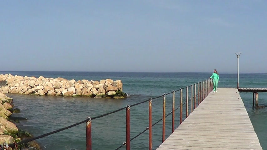 atracação : Woman walking on pier