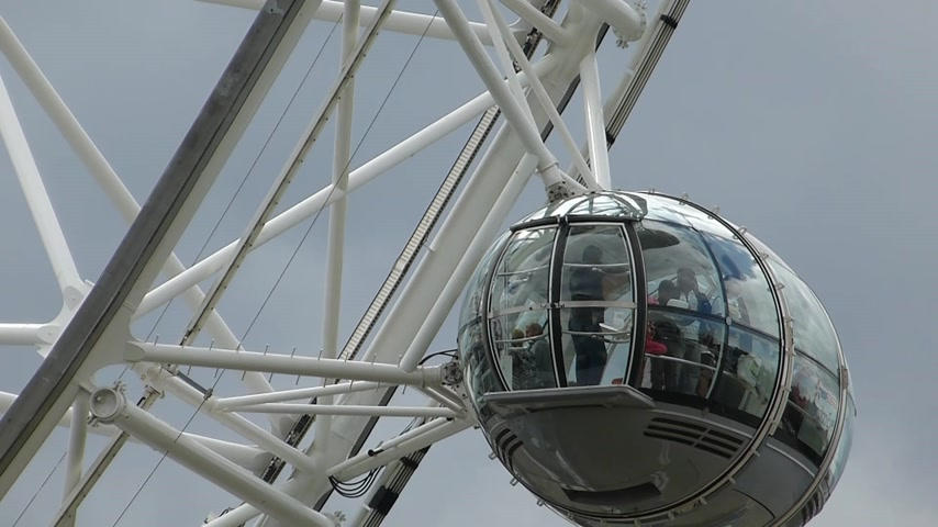 giant wheel : Closedup view of London Eye passenger capsules UK London. LONDON EYE 17a Closedup view of London Eye passenger capsules UK London. The London Eye is a giant Ferris wheel on the South Bank of the River Thames in LondonEngland. Also known as the Mi Stock Footage