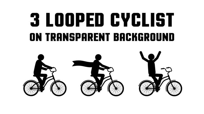 pictograma : Set of 3 consecutive looped animated pictogram cyclist on a transparent background