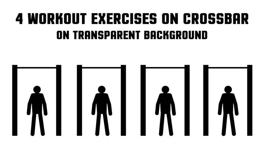 pictograma : Set of 4 animated consecutive looped street workout exercise pictogram man on the crossbar. Transparent background.