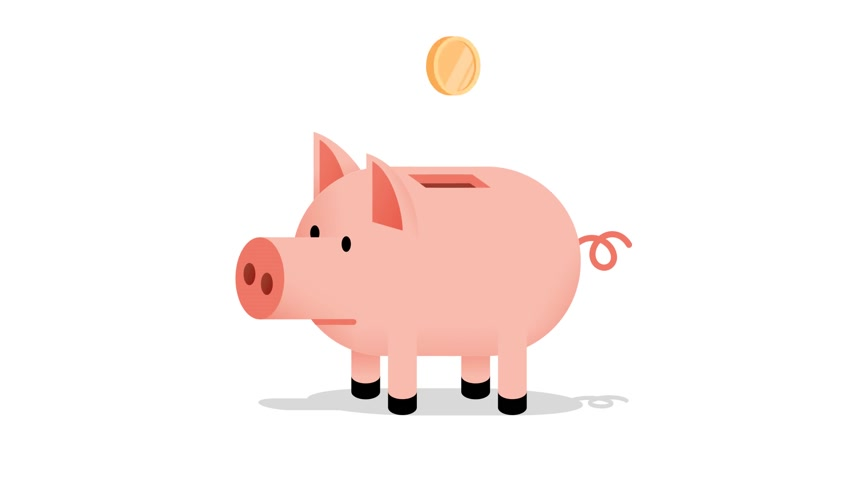 kumbara : Pig piggy bank with a falling coin
