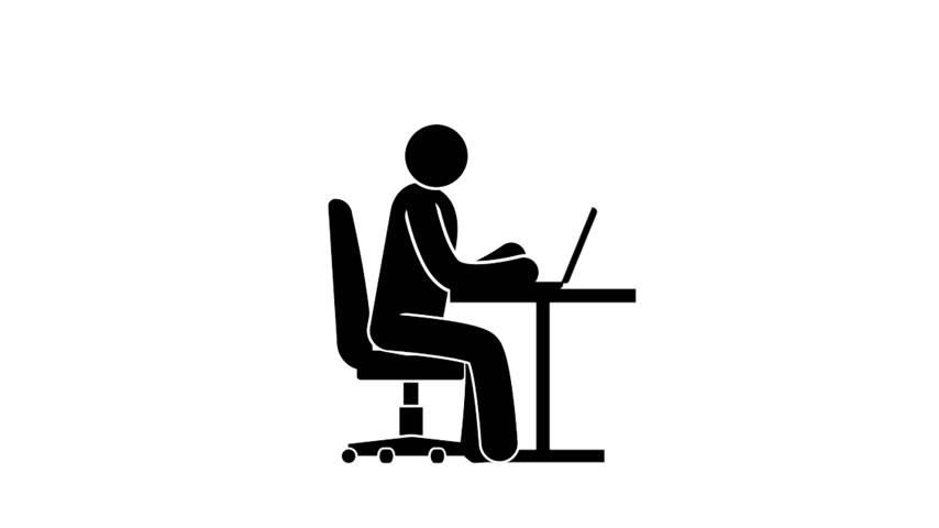 cadeiras : Pictogram man sits at a table and working at a laptop. Looped animation with alpha channel.