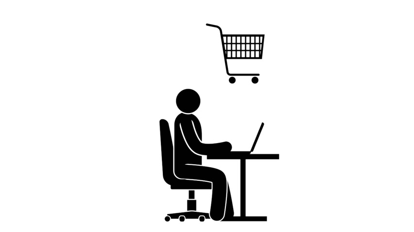 pictograma : Pictogram man with laptop is engaged in online shopping. Animated icon with alpha channel.