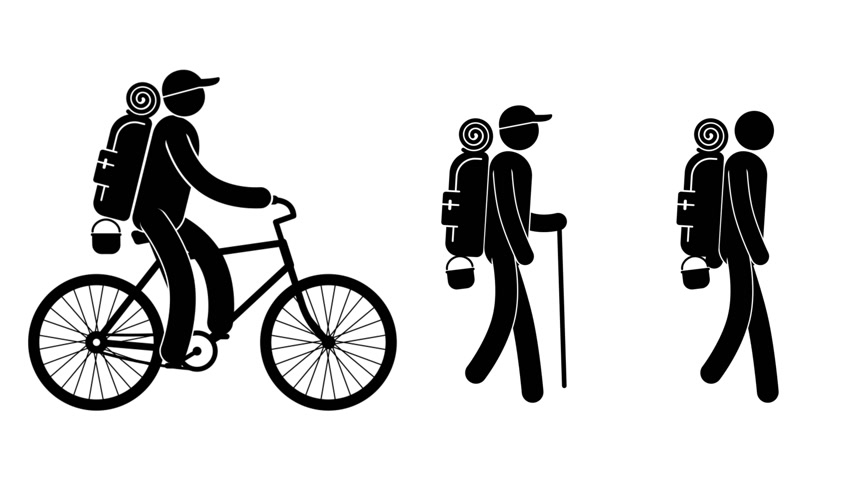 pictograma : Pictogram man - tourist walking, and rides on bicycle. Looped 4k animation with alpha matte transparent background.