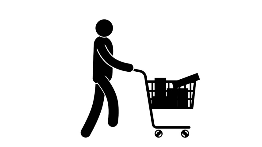 questão : Pictogram man walks with full shopping cart. Looped animation with alpha channel. Stock Footage
