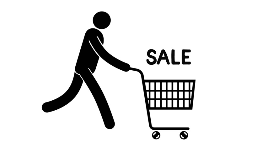 humanóide : Pictogram man is running with shopping cart for a sale. Looped animation with alpha channel. Stock Footage