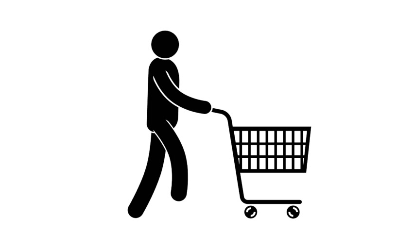 humanóide : Pictogram man walks with a shopping cart on wheels. Looped animation with alpha channel. Stock Footage
