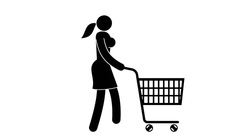 koszyk zakupy : Pictogram woman rolls a shopping cart in front of her. Looped animation with alpha channel.
