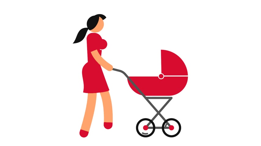 humanóide : Woman is walking with a baby carriage - colored icon pictogram. Looped animation with alpha channel.