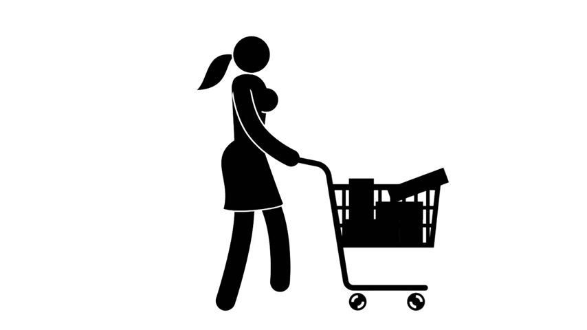 críquete : Pictogram woman comes with shopping cart full of purchases. Looped animation with alpha channel. Stock Footage