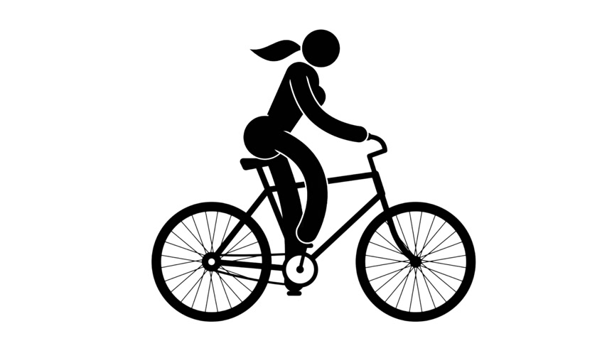 klipart : Black and white icon woman rides bicycle. Pictogram people. Loop animation with alpha channel.
