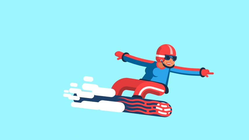 склон : Girl snowboarder in bright outfit movement. Looped animation with alpha channel.
