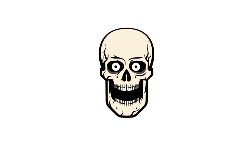 szkielet : The ridiculous cartoon skull suddenly screams with bulging eyes. Looped animation with alpha channel. 2 variants one after another.