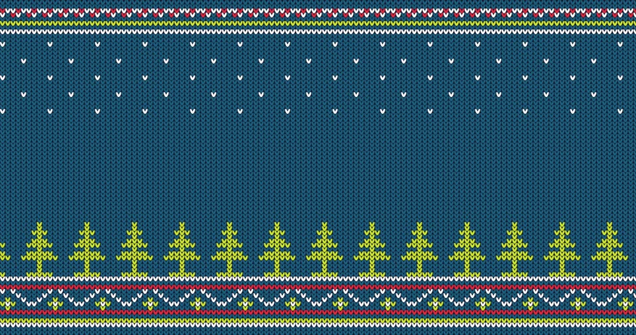 перемычка : Seamless knitted pattern with Christmas trees and folk ornaments - looped animation. Стоковые видеозаписи