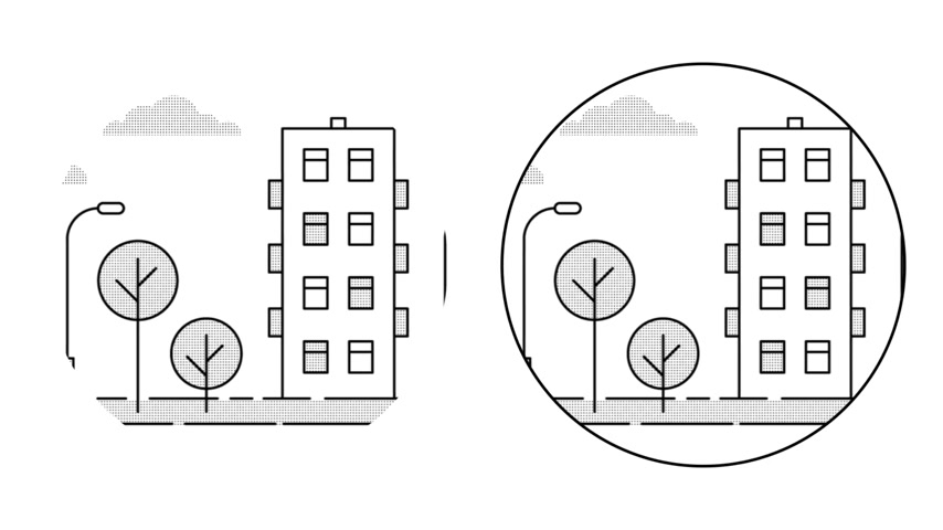 casas : Urban landscape in the circle. Linear outline style. Loop animation with alpha channel. Vídeos