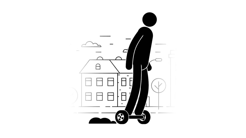 self balancing : Icon man riding a gyroscooter on the urban landscape background. Pictogram People. Individual transport. Loop animation with alpha channel. Stock Footage