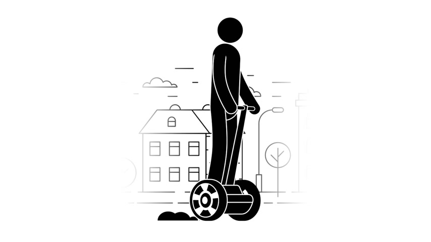 personal transporter : Pictogram man riding a two-wheeled on the urban landscape background. Icon People. Personal transport. Loop animation with alpha channel. Stock Footage