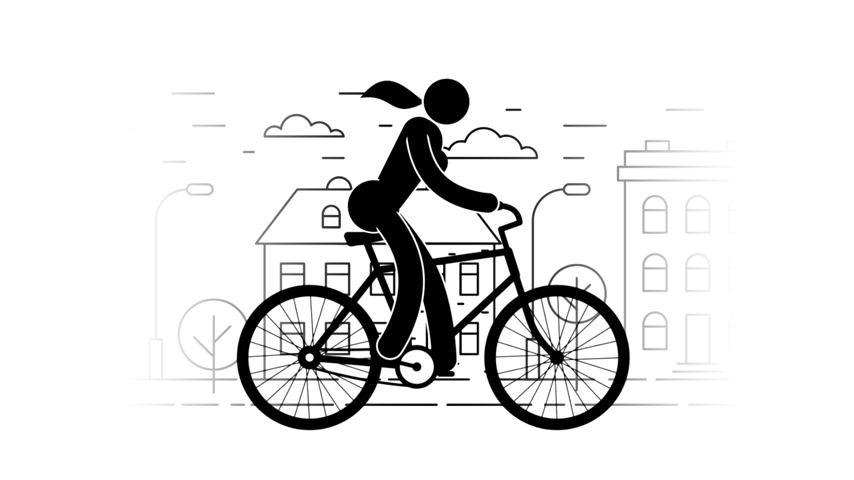 símbolo : Pictogram woman riding a bicycle on the urban landscape background. Icon People. Personal transport. Loop animation with alpha channel. Stock Footage