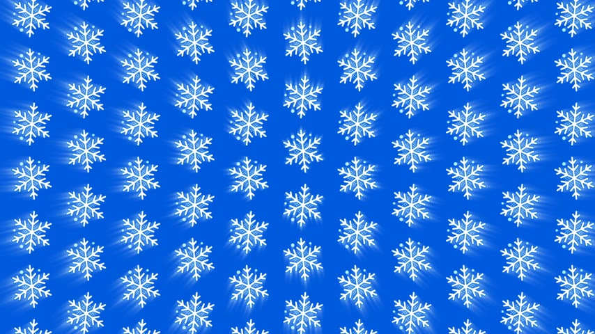 lentejoula : Seamless pattern falling glowing geometric snowflakes on blue background Stock Footage