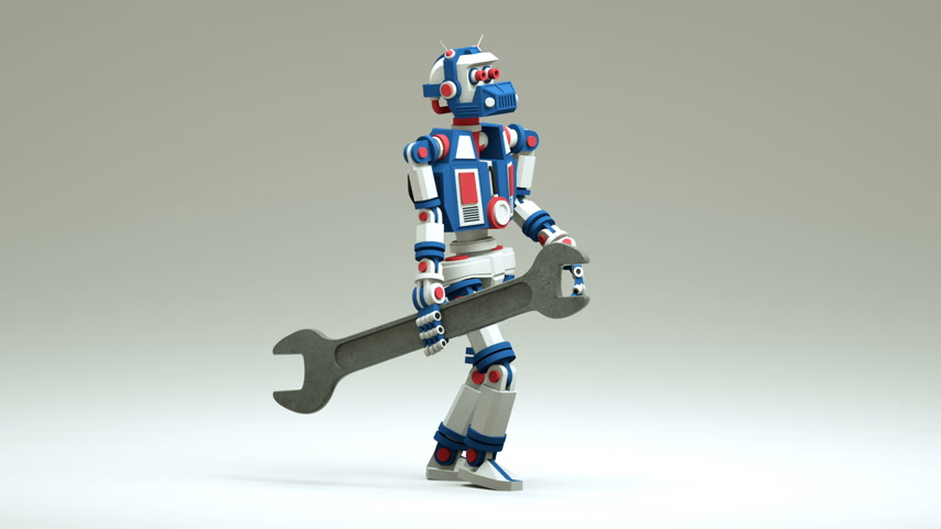 İngiliz anahtarı : 3d robot repairman walk with spanner. Looped render animation with alpha mask.