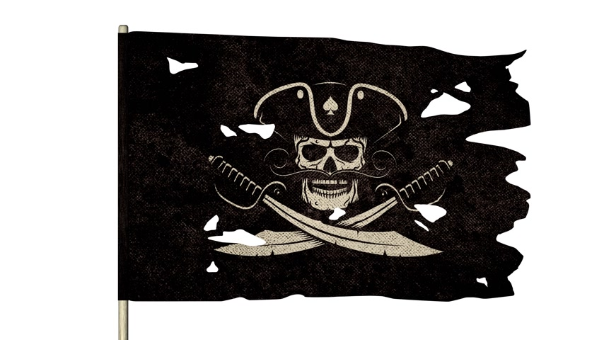meç : Waving torn pirate flag with jolly roger skull