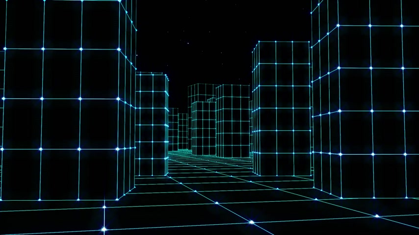 budoucnost : Cyber space city sketchy houses from a glowing grid