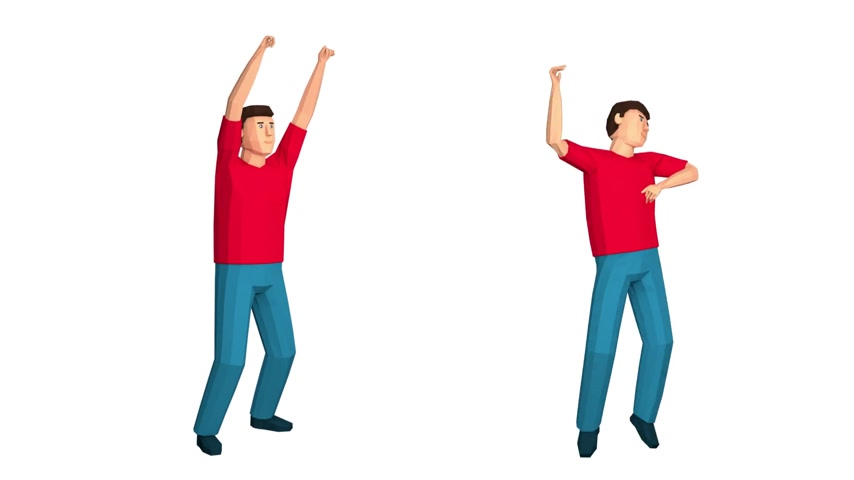 vay : Low poly man rejoices celebrates raising hands