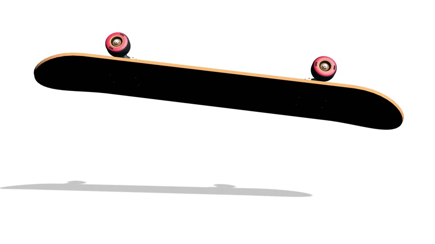 skateboard deck : Realistic 3D skateboard rides and turns over in a jump