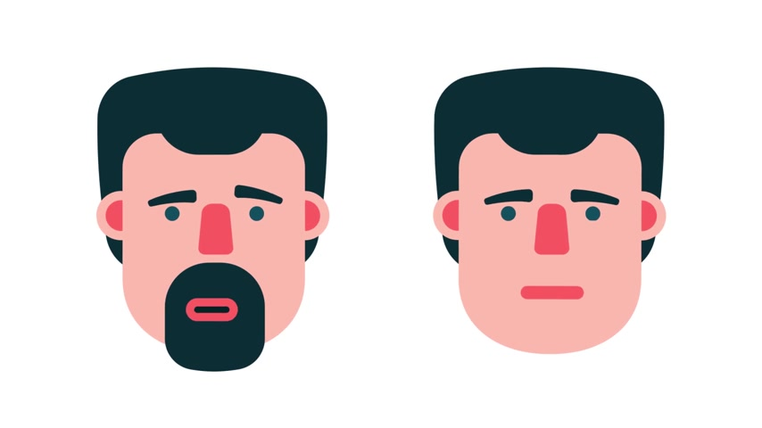 flat head : Face of man emotions