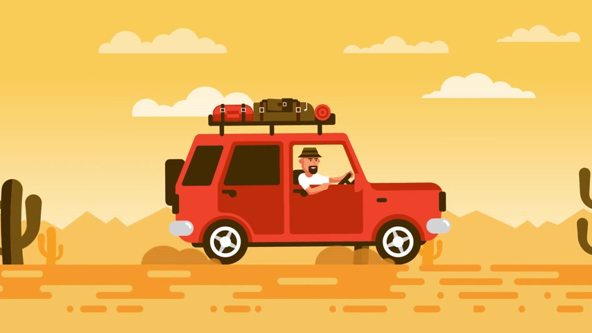 západ : Tourist on an SUV rides through the desert