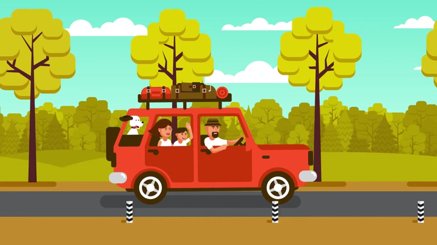 bavul : Family on the car goes on vacation on a country road