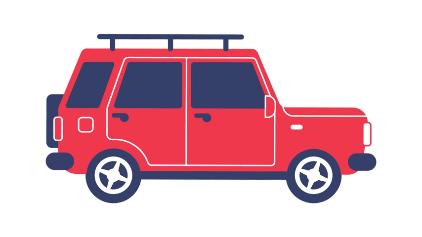 SUV car rides cartoon icon