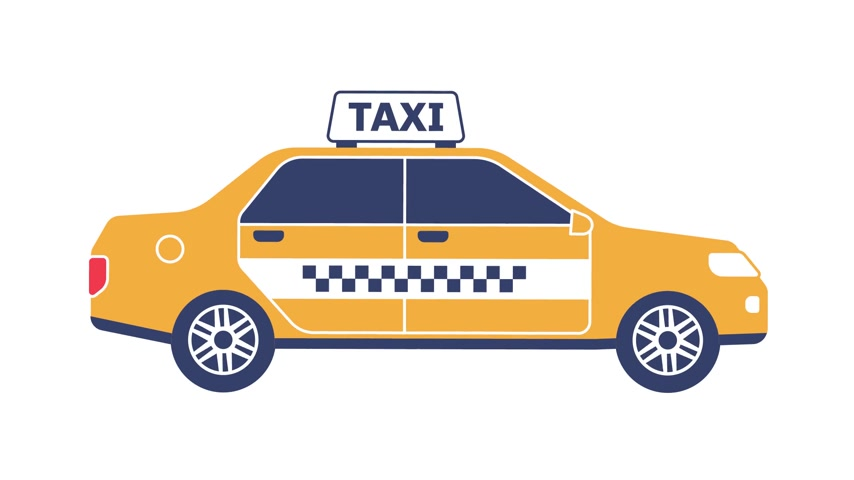 Taxi car cartoon flat icon