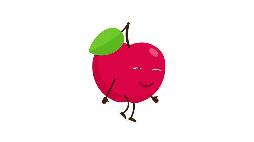 Red Apple cartoon character walking