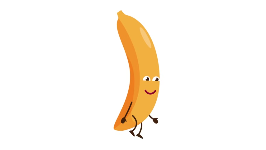 Banana cartoon character walking and smile Stock Footage