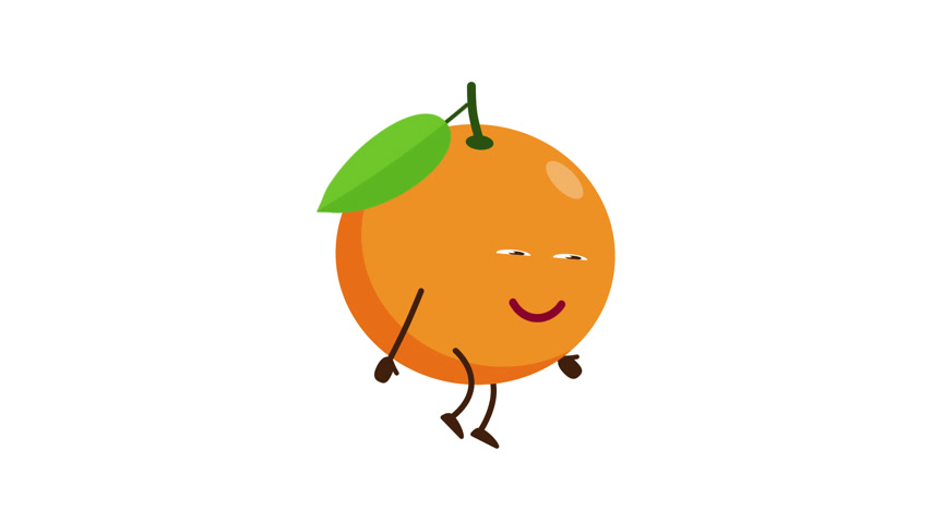 Orange cartoon character walking and smile Vídeos