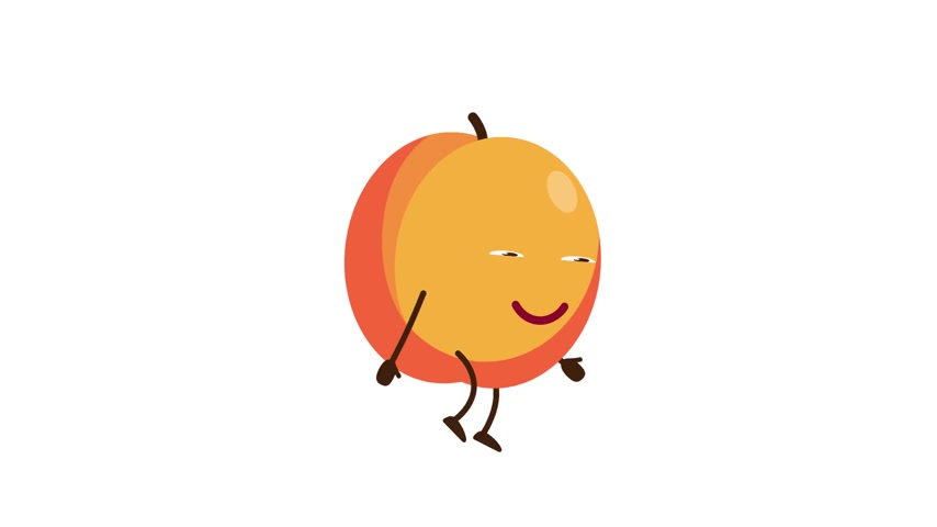 Peach cartoon character walking. Stock Footage
