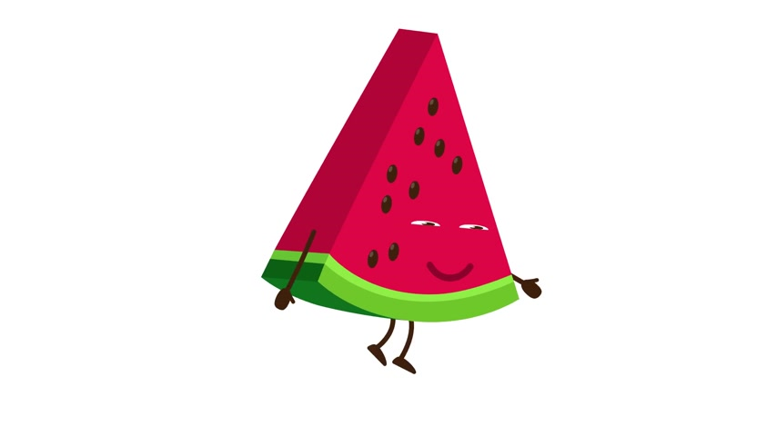 Watermelon cartoon character walking and smile Stock Footage