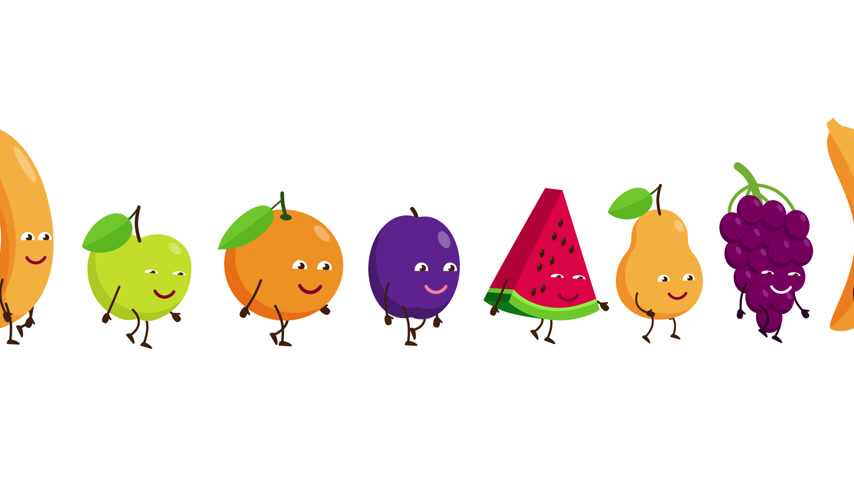 Funny fruits go after each other Vídeos