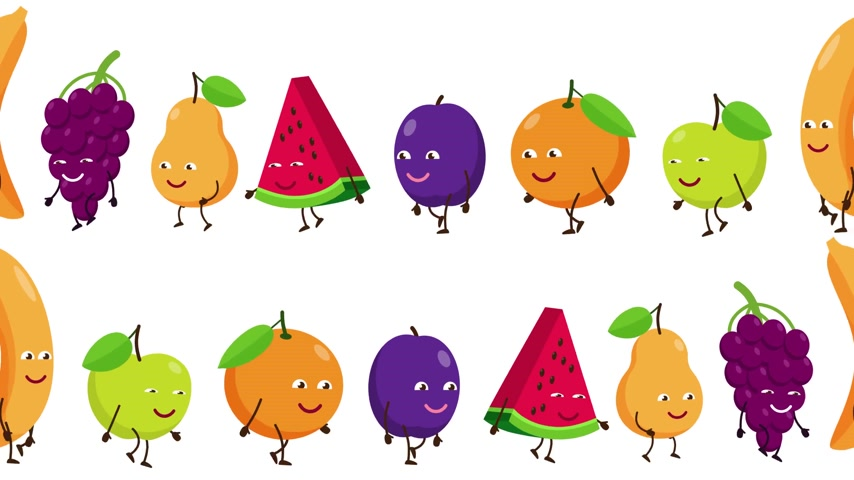 Cartoon fruits with faces are fun to follow each other
